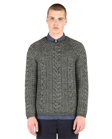 Wool Silk Cable Crew