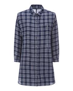 W'S Linen Ls Shirt, FARMER BLUE CHE, hi-res