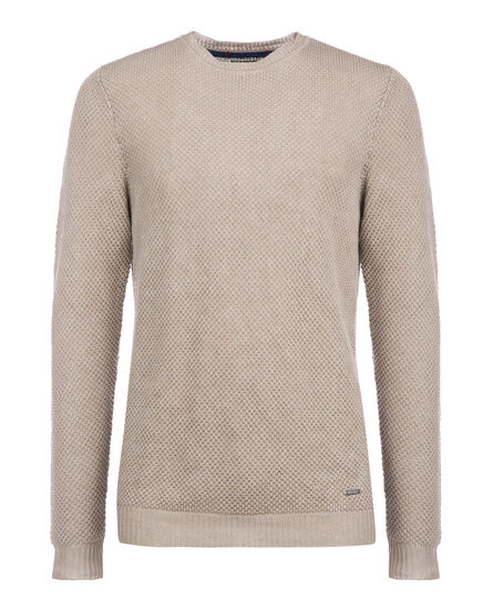 Linen Stitch Crew Neck, DESERT ROCK, hi-res