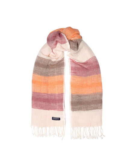W'S Striped Cotton Linen Scarf, BEETROOT STRIPE, hi-res