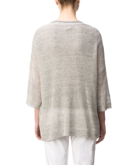W'S Linen Crew Neck, WATERFALL GREY, hi-res