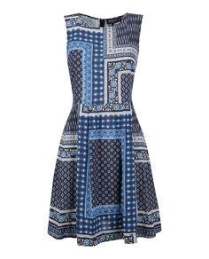 W'S Printed Linen Dress, PATCHWORK INDIG, hi-res