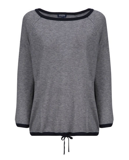 W'S Silk Cashmere Boxy Sweater, NIGHT SKY STRIP, hi-res