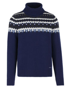 Jacquard Turtle Neck, DARK NAVY, hi-res