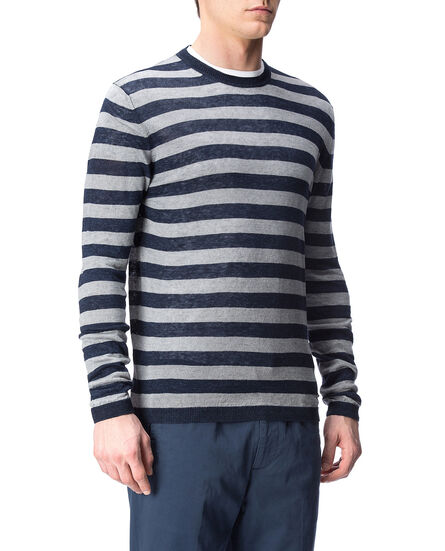 Linen Crew Neck, NAVY STRIPE B, hi-res