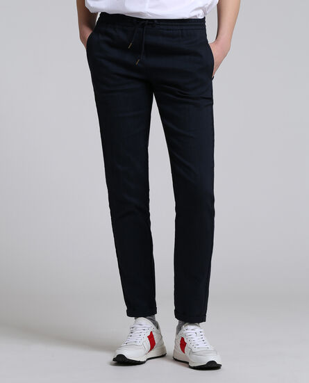 W'S Linen Jogging, DEEP BLUE, hi-res