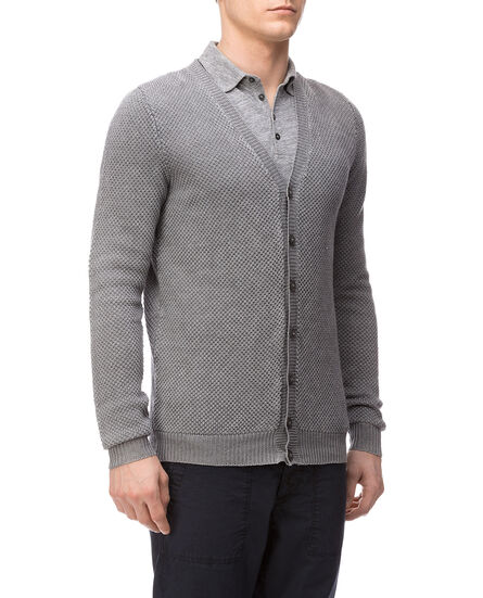 Linen Stitch Cardigan, MEDIUM GREY MEL, hi-res