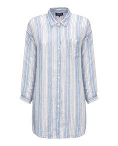 W'S Linen Ls Shirt, WHITE SALT STRI, hi-res