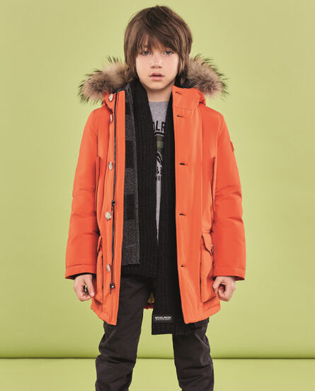 Boy's Orange Parka Look