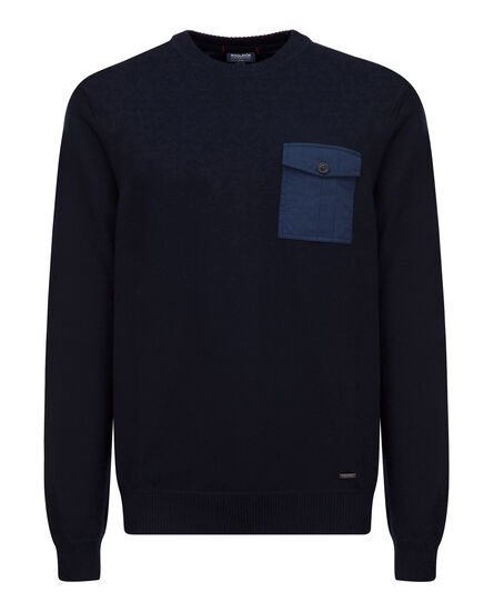Military Cotton Crew Neck, DARK NAVY, hi-res