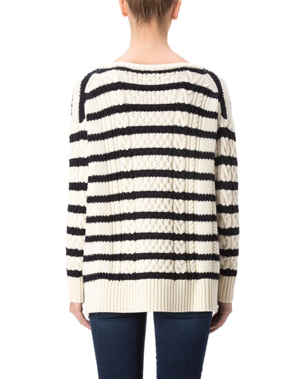 W'S Normandy Boxy Crew Neck, SHELL STRIPE, hi-res