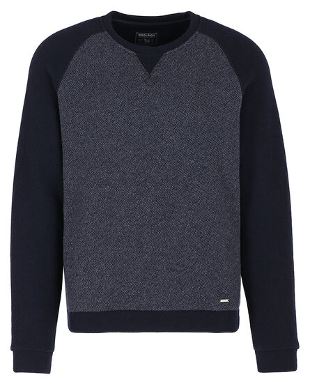 Light Wool Cotton Crew, DARK NAVY, hi-res