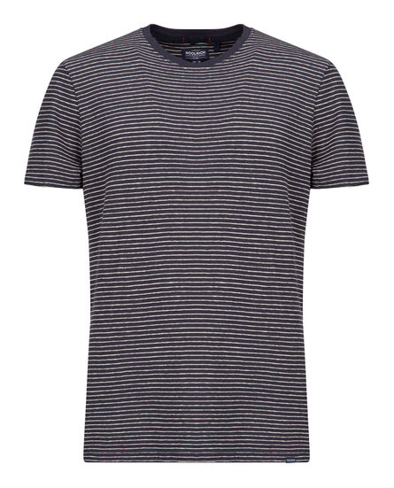 Mix Linen Tee, DARK NAVY STRIP, hi-res