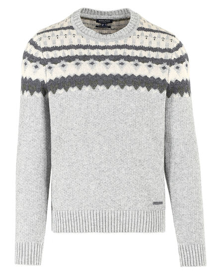 Jacquard Crew Neck, LIGHT GREY MELA, hi-res