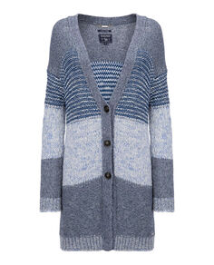 W'S Chunky Patchwork Cardigan, PATCHWORK INDIG, hi-res