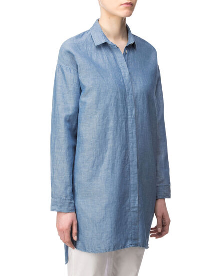 W'S Light Oxford Over Shirt, OXFORD BLUE, hi-res