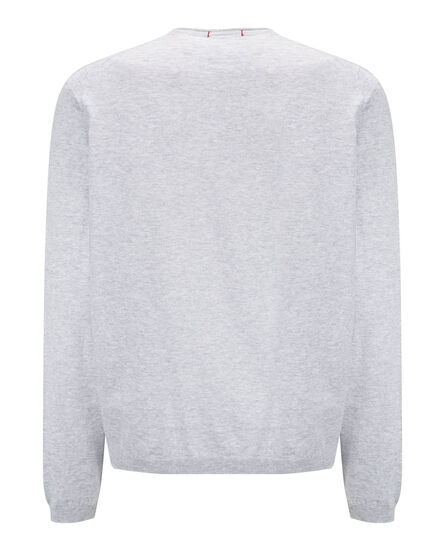 Dry Slub Crew Neck Sweater, LIGHT GREY MELA, hi-res
