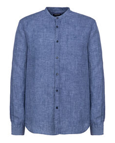 Linen Corean Collar Shirt, MEDIEVAL BLUE, hi-res