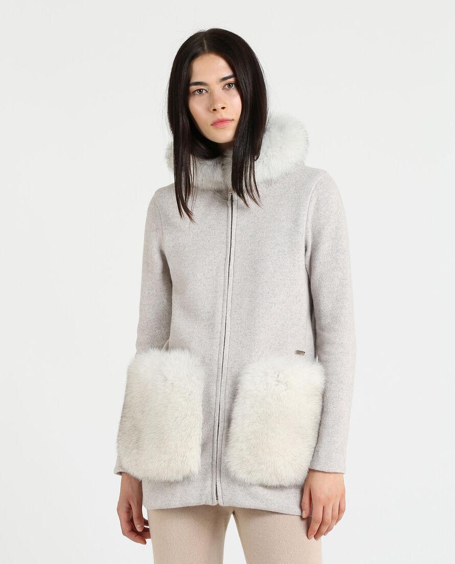 W'S Wool Cotton Fur Pkt Hoodie