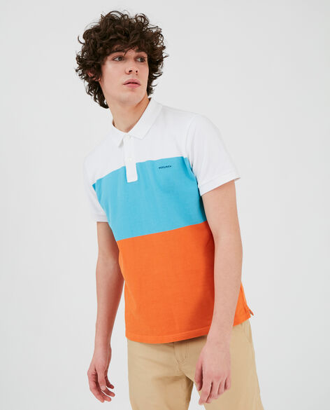 Color Block Stripe Polo