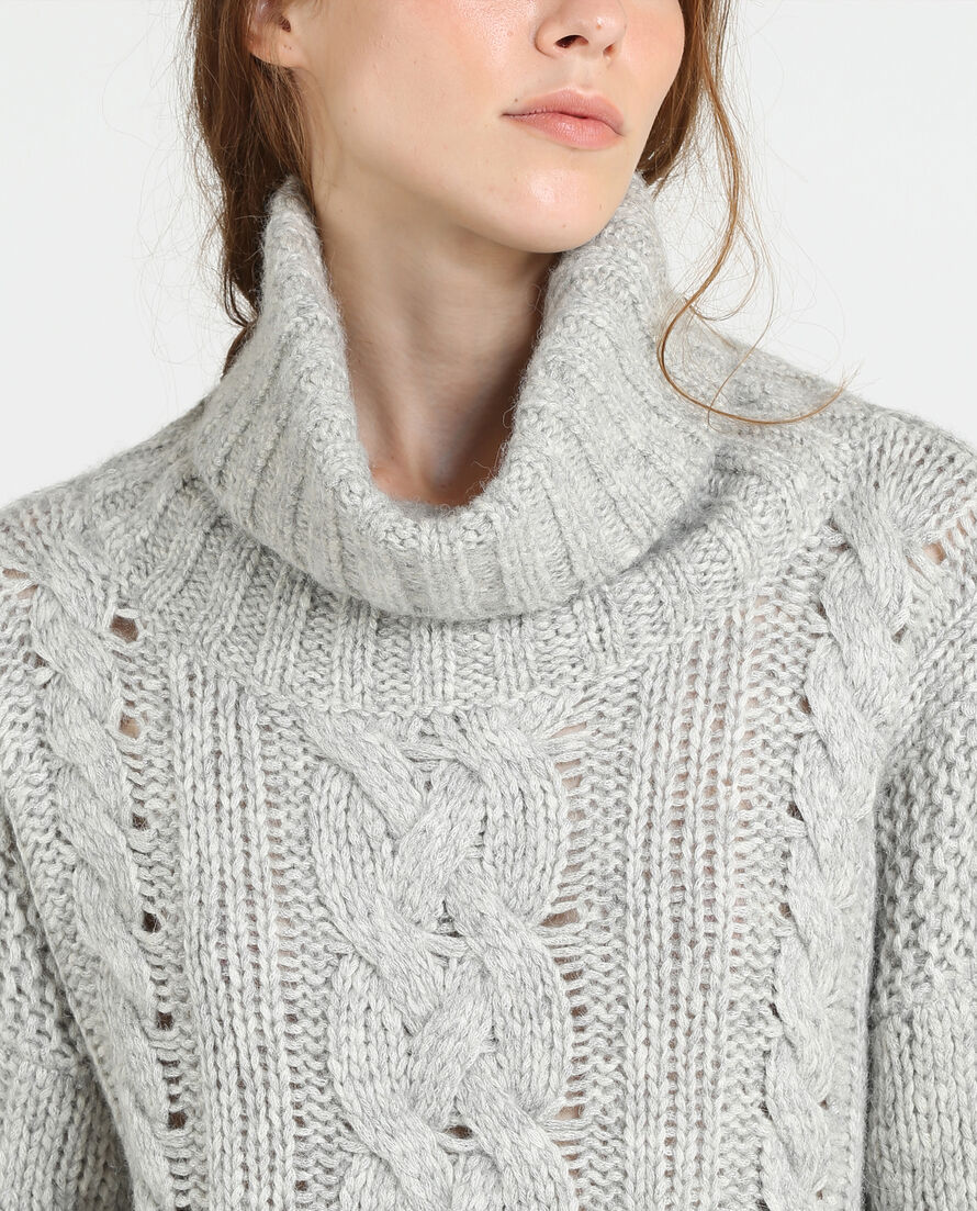 W'S Cable Alpaca Turtle Neck