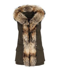 W'S Military Parka Vest, DARK GREEN, hi-res