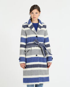 W'S Cozy Wool Striped Coat